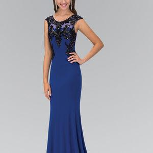 Sequin Embellished Cap Sleeve Long Dress GL1380